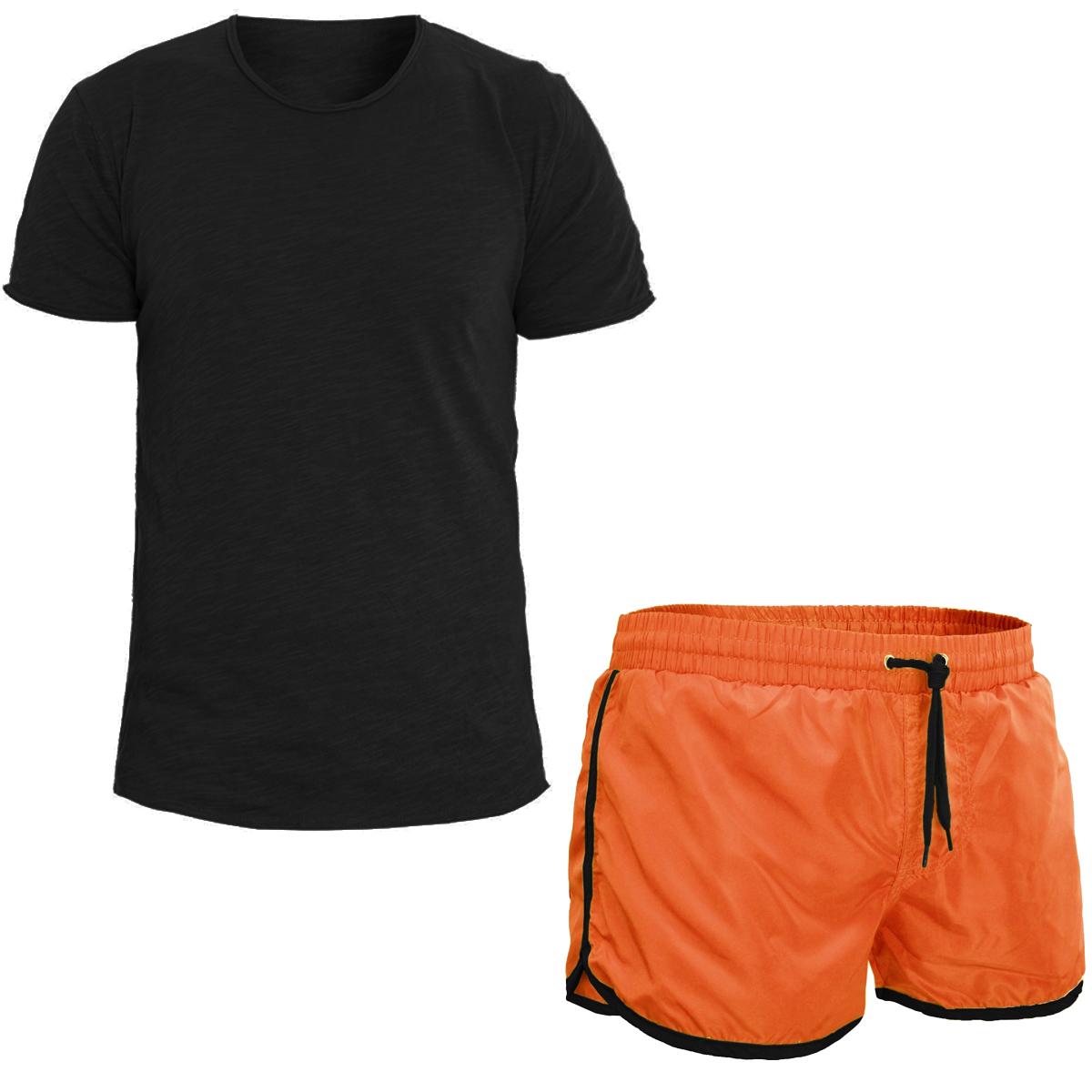 Generoso Completo Uomo T-shirt Tinta Unita Nera Costume Da Bagno Boxer Arancione Look ... Buona Conservazione Del Calore