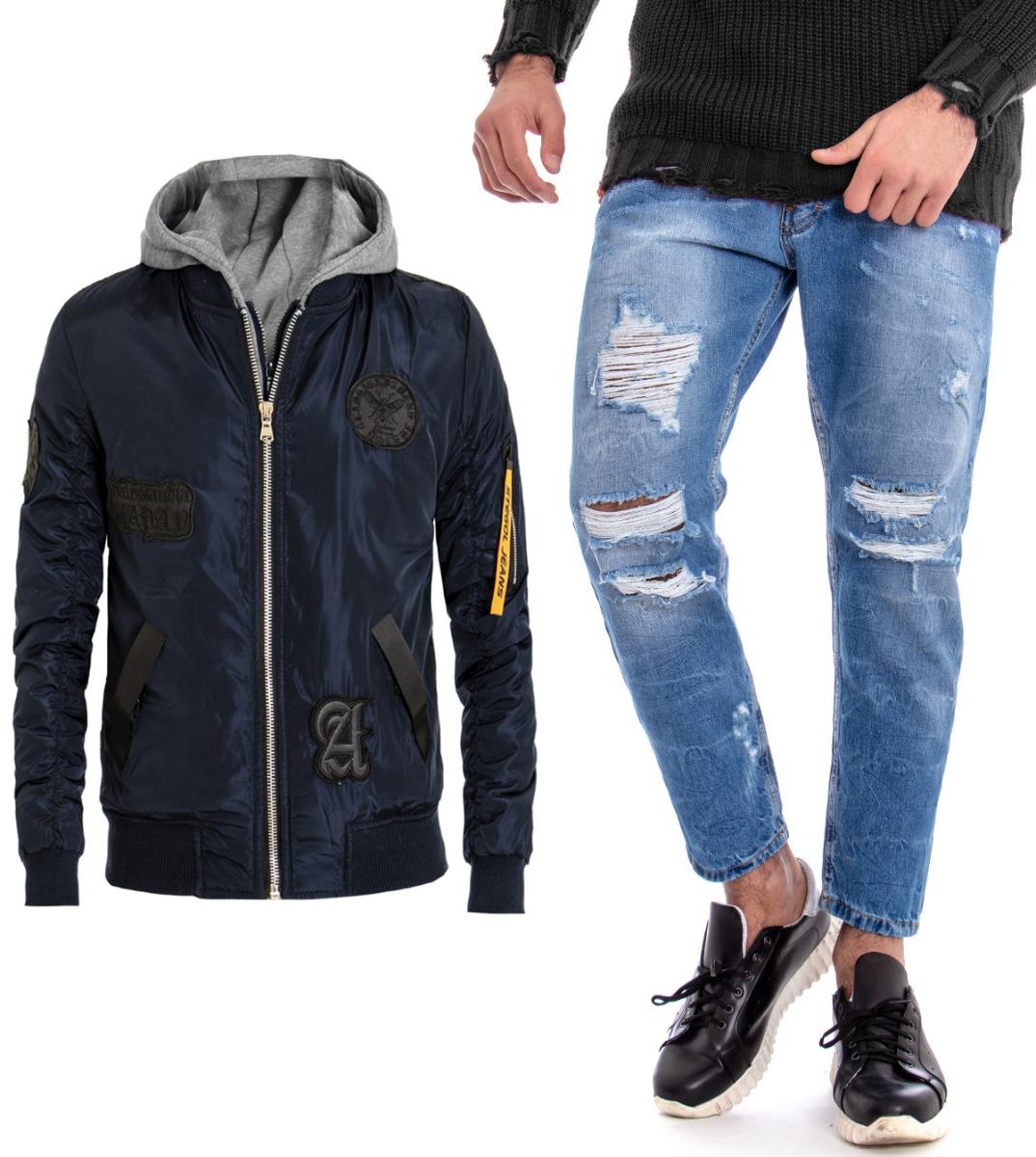 Dettagli su Completo Uomo Outfit Giubbotto Blu Cappuccio Pantalone Jeans Rotture GIOSAL