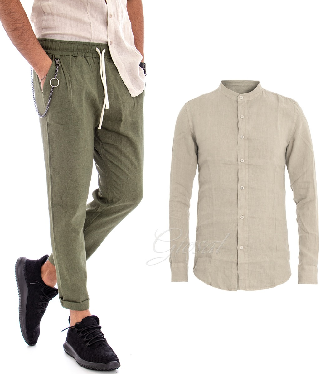 buy online 37b4b ea2be Details zu Komplett Hemd Beige Hose Grün Herren Outfit Leinen Einfarbig  Casual Gi