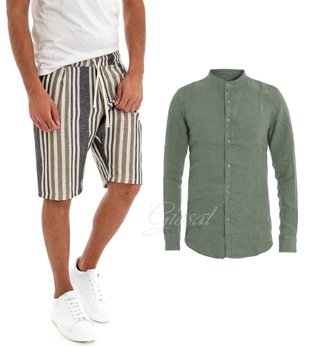 rico y magnífico diseños atractivos distribuidor mayorista Detalles de Completo Traje Camisa Verde Lino Color Liso Bermudas Pantalones  Hombre Rigati