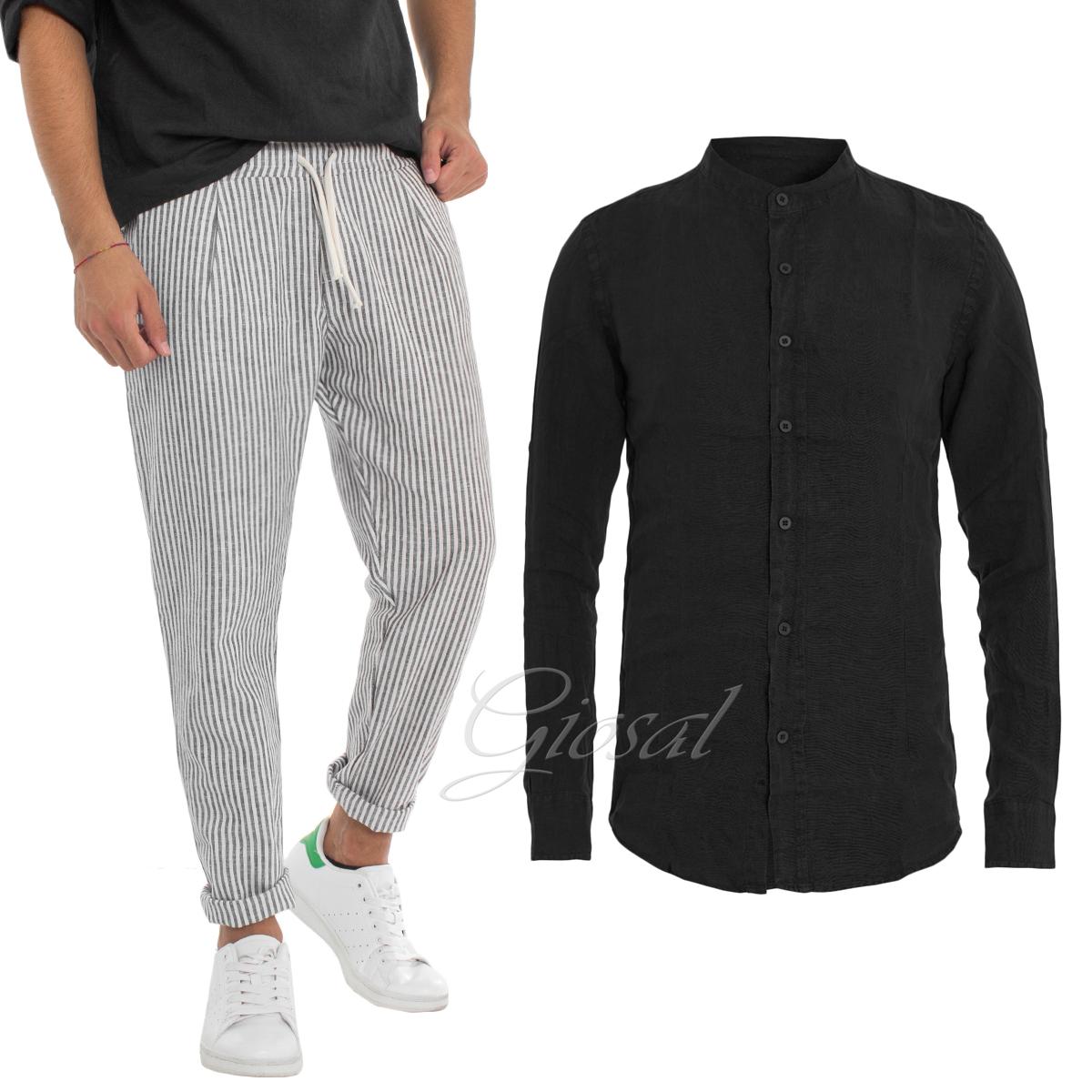 Completo Uomo Outfit Camicia Pantalone Rigato Look Summer Lino Giosal Vuoi Comprare Alcuni Prodotti Nativi Cinesi?