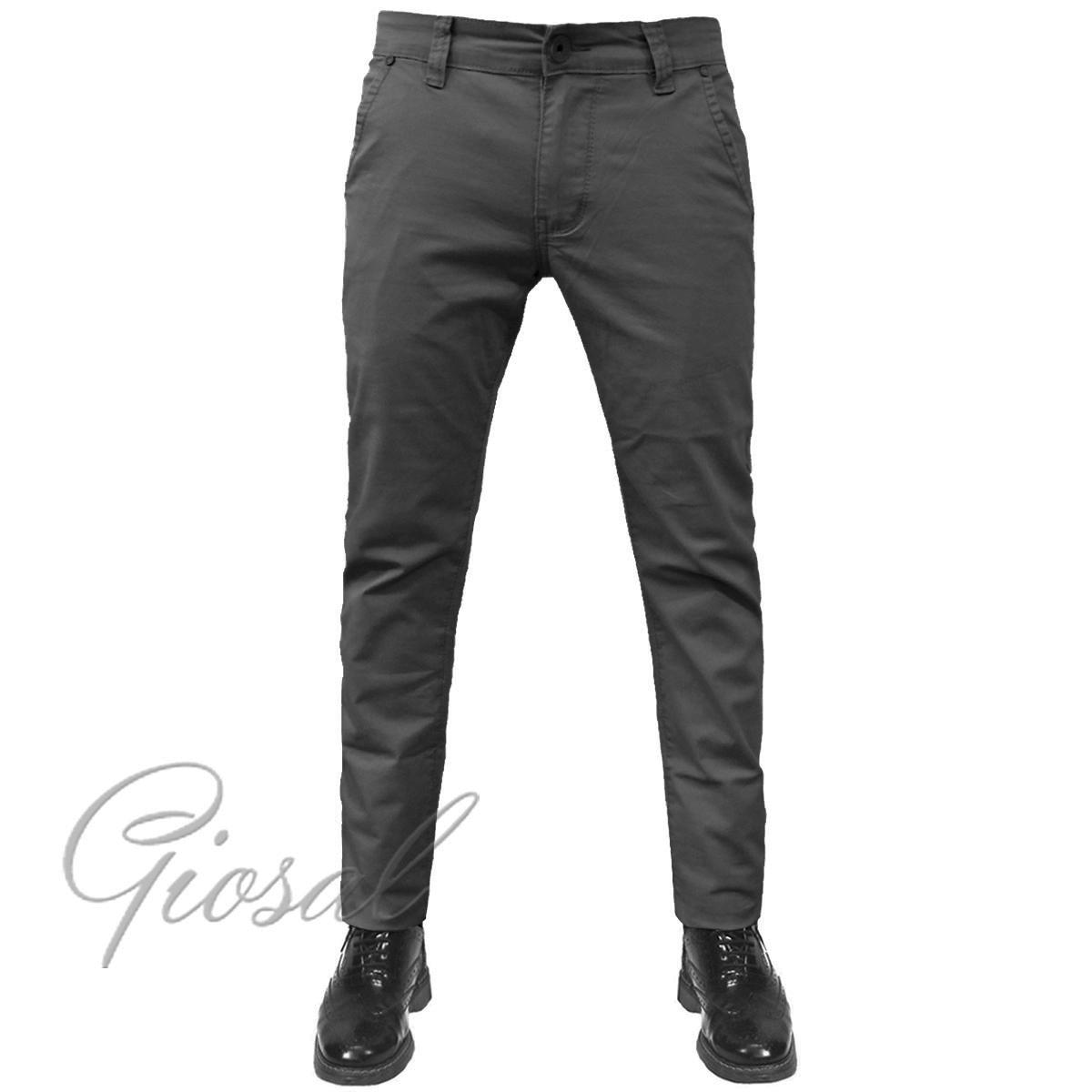 Pantalone-Uomo-Tasca-America-Chino-Slim-Cotone-Elastico-Bottone-Zip-Colori-Va miniatura 20