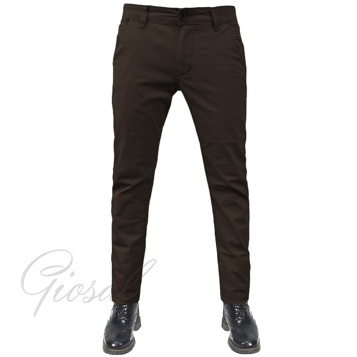 Pantalone-Uomo-Tasca-America-Chino-Slim-Cotone-Elastico-Bottone-Zip-Colori-Va miniatura 18