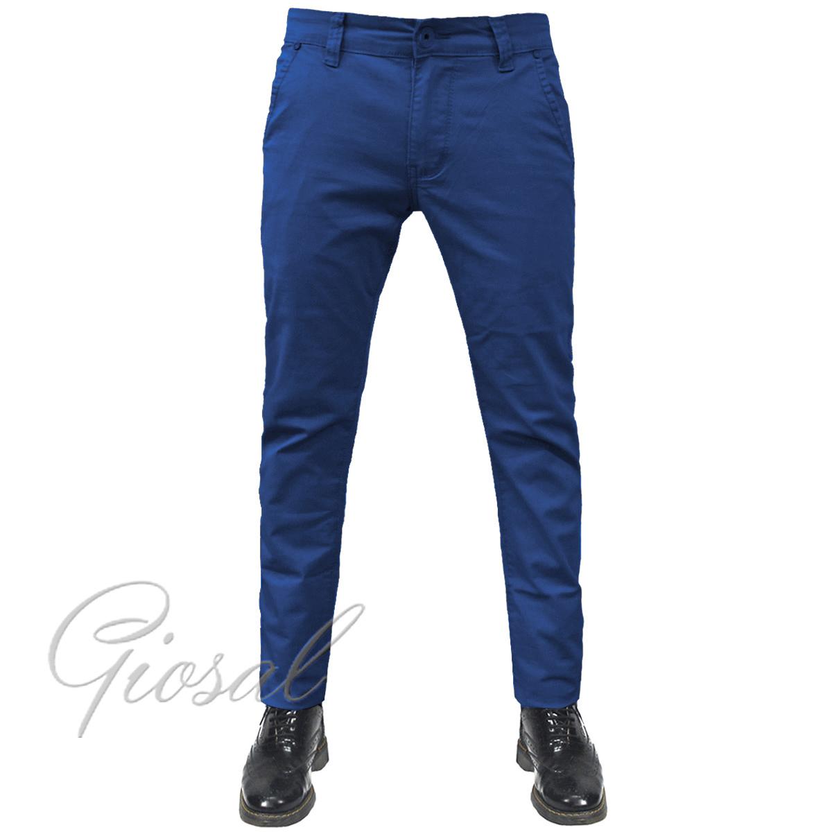Pantalone-Uomo-Tasca-America-Chino-Slim-Cotone-Elastico-Bottone-Zip-Colori-Va miniatura 17