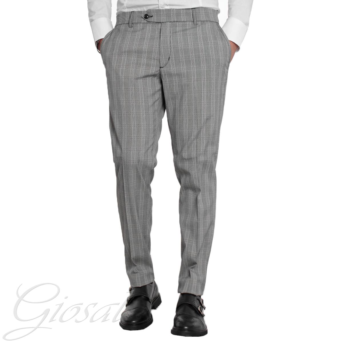 bb519a38253675 Pantaloni Uomo Classici Grigio Quadretti Scozzese Tasca America GIOSAL -  P1527A