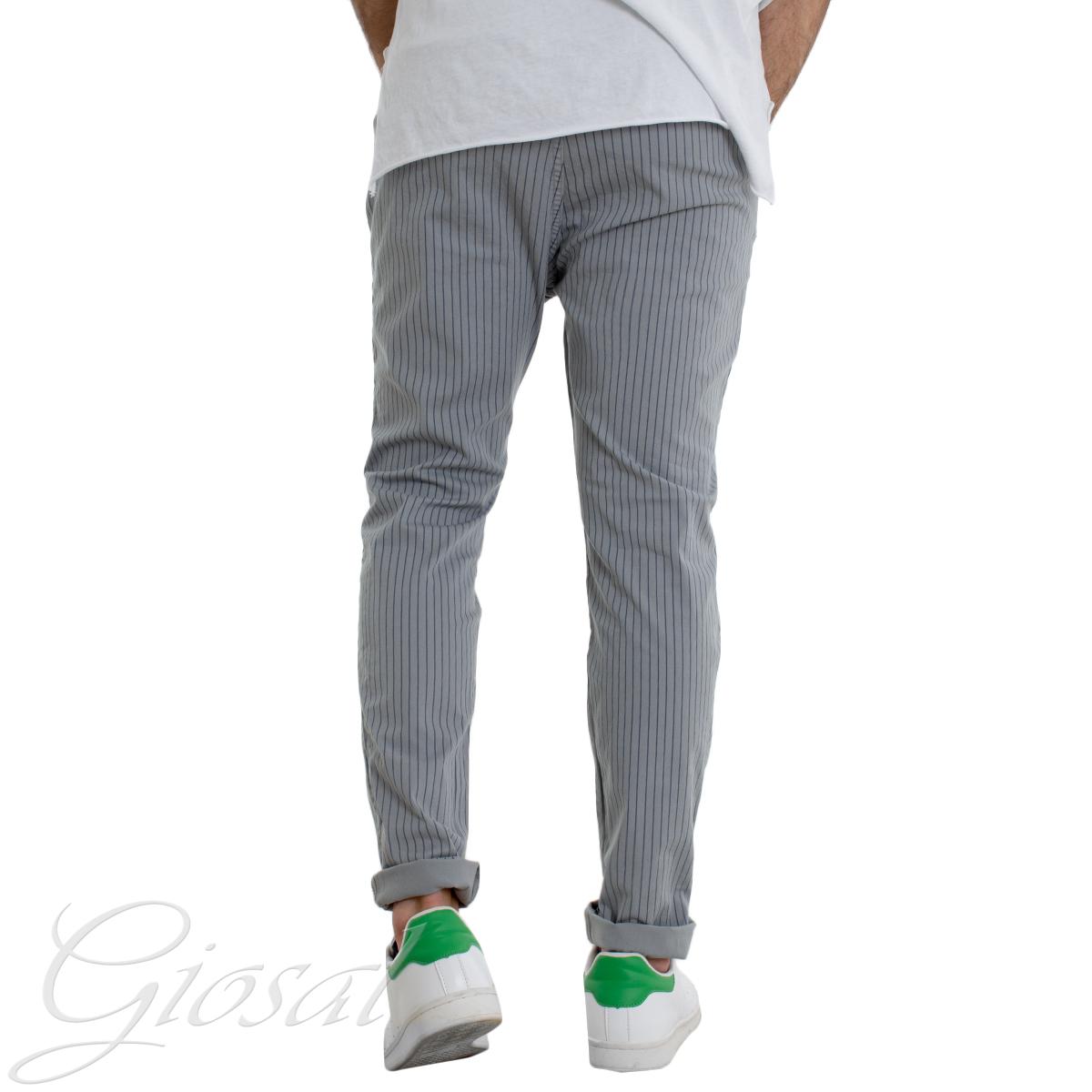 Pantalone-Uomo-Righe-Tinta-Unita-Vari-Colori-Tasca-America-Casual-GIOSAL