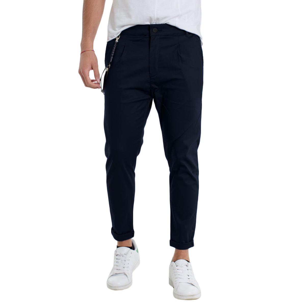 Pantalone-Uomo-Tasca-America-Cotone-Vari-Colori-Tinta-Unita-Casual-GIOSAL