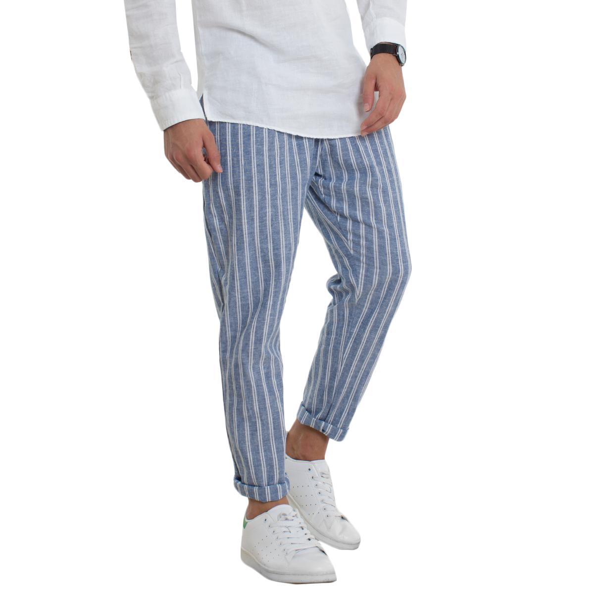 3b4de59e2 Hombre elástico pantalones holgados casuales lino rayas azul líneas  GIOSAL-P1708A