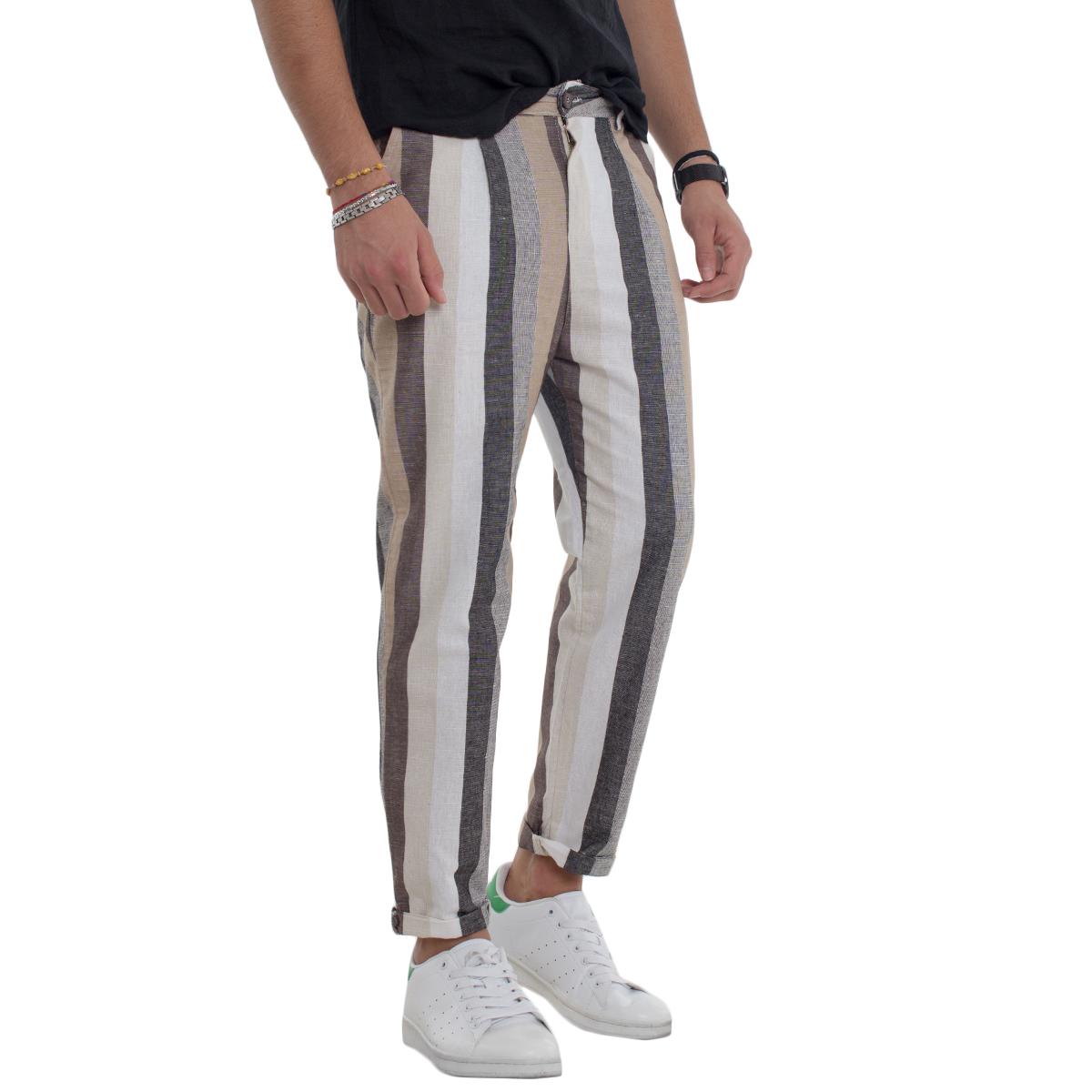 Pantalone-Uomo-Righe-Tasca-America-Rigato-Leggero-Slim-GIOSAL miniatura 5