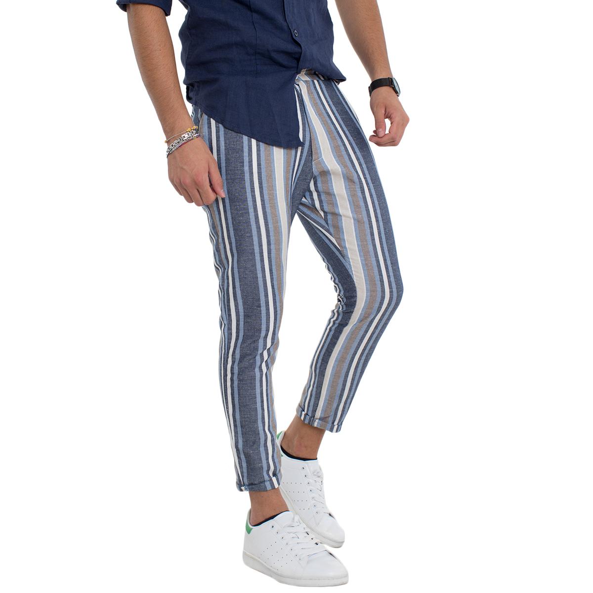 Pantalone-Uomo-A-Righe-Blu-Lino-Rigato-Casual-Slim-Tasca-America-Vari-Colori