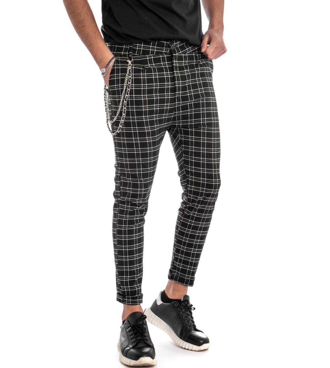 stili di moda nuova selezione Miglior prezzo Pantalone Uomo Fantasia Scozzese Tasca America Quadri Quadretti Nero GIOSAL  • EUR 28,80