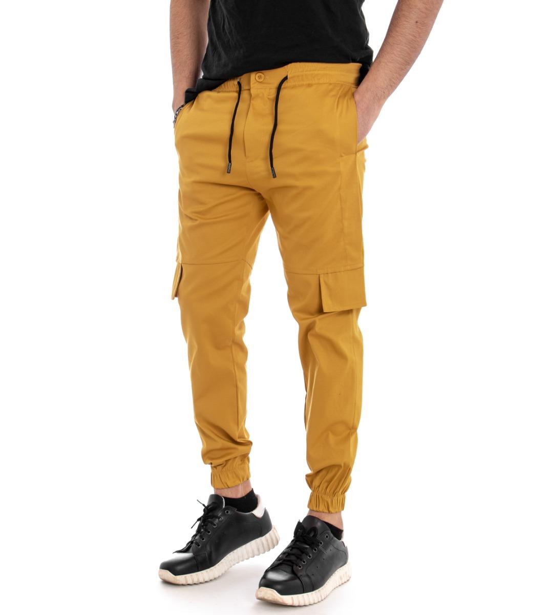 mejor servicio f5a2c 31dca Detalles de Pantalones Hombre Panta Chándal Color Liso Mostaza Tiro Caído  Casual Giosal