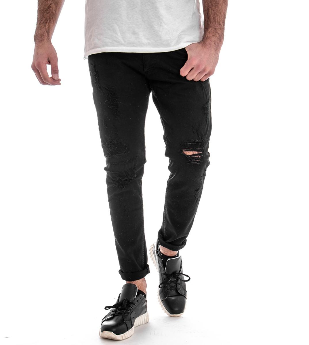 Pantalone men Cinque Tasche redture black Tinta Unita MOD Casual GIOSAL