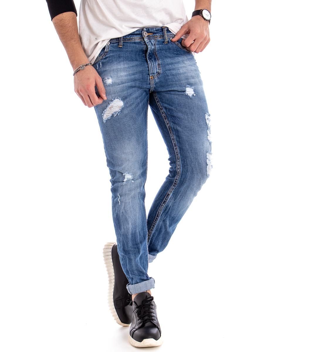 Logico Pantalone Jeans Uomo Denim Akirò Cinque Tasche Rotture Slim Cotone Giosal