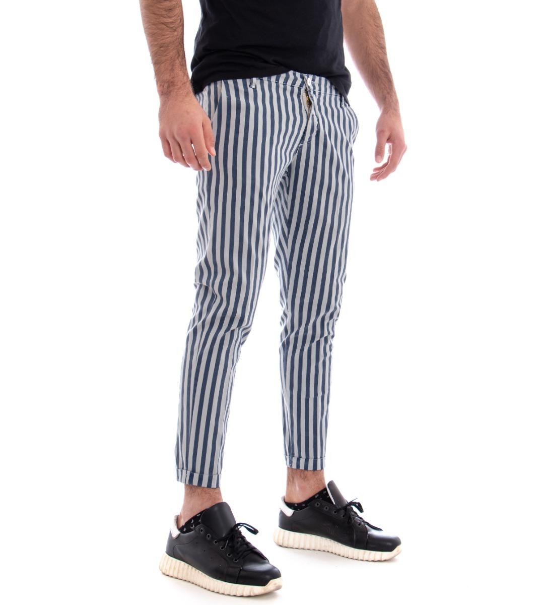 Pantalone Uomo Rigato Tasca America Righe Grigio Bicolore Slim Cotone Giosal