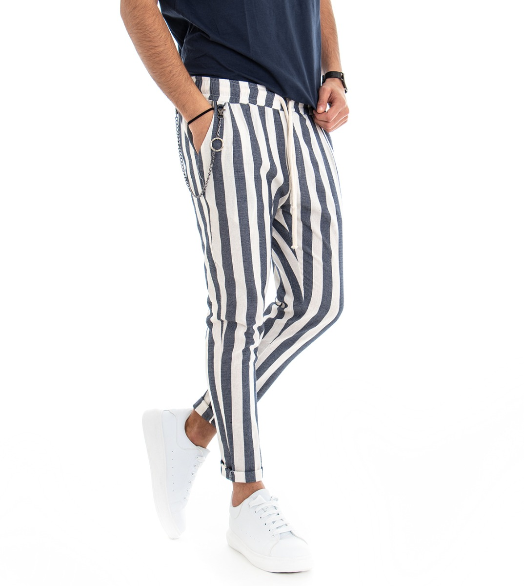 Responsable Pantalone Uomo Blu Fantasia A Righe Elastico Rigato Tasca America Giosal