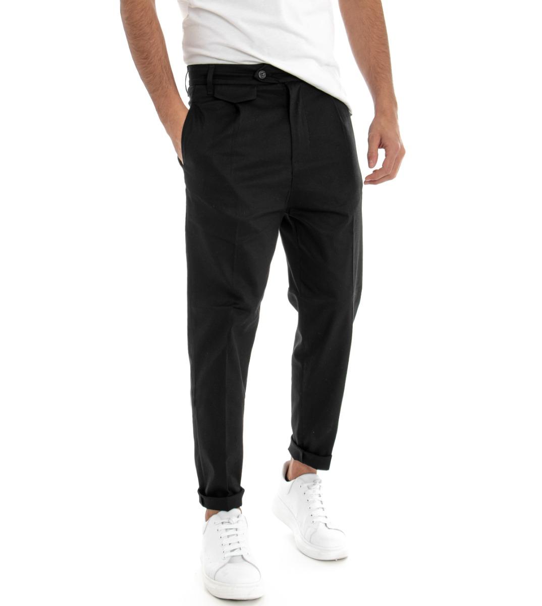 Cosciente Pantalone Uomo Tinta Unita Nero Tasca America Pence Casual Giosal