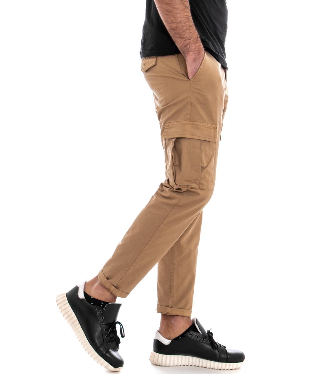 Pantalone-Uomo-Cargo-Tasca-America-Kaki-Tinta-Unita-Cotone-Casual-GIOSAL miniatura 6