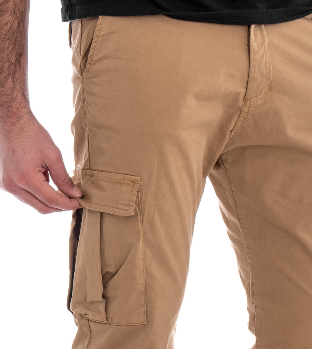 Pantalone-Uomo-Cargo-Tasca-America-Kaki-Tinta-Unita-Cotone-Casual-GIOSAL miniatura 3