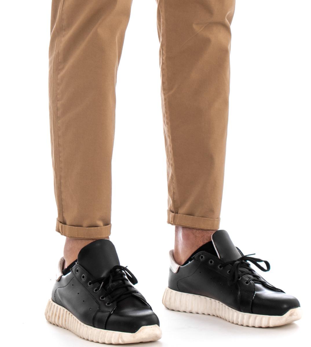 Pantalone-Uomo-Cargo-Tasca-America-Kaki-Tinta-Unita-Cotone-Casual-GIOSAL miniatura 5