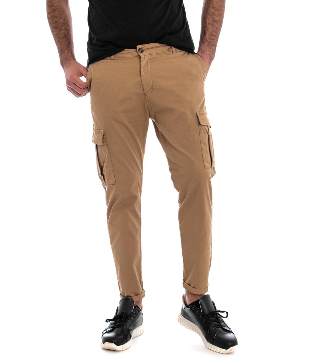 Pantalone-Uomo-Cargo-Tasca-America-Kaki-Tinta-Unita-Cotone-Casual-GIOSAL