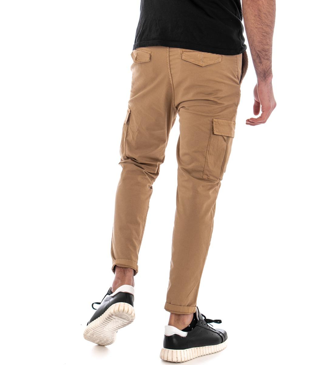 Pantalone-Uomo-Cargo-Tasca-America-Kaki-Tinta-Unita-Cotone-Casual-GIOSAL miniatura 4