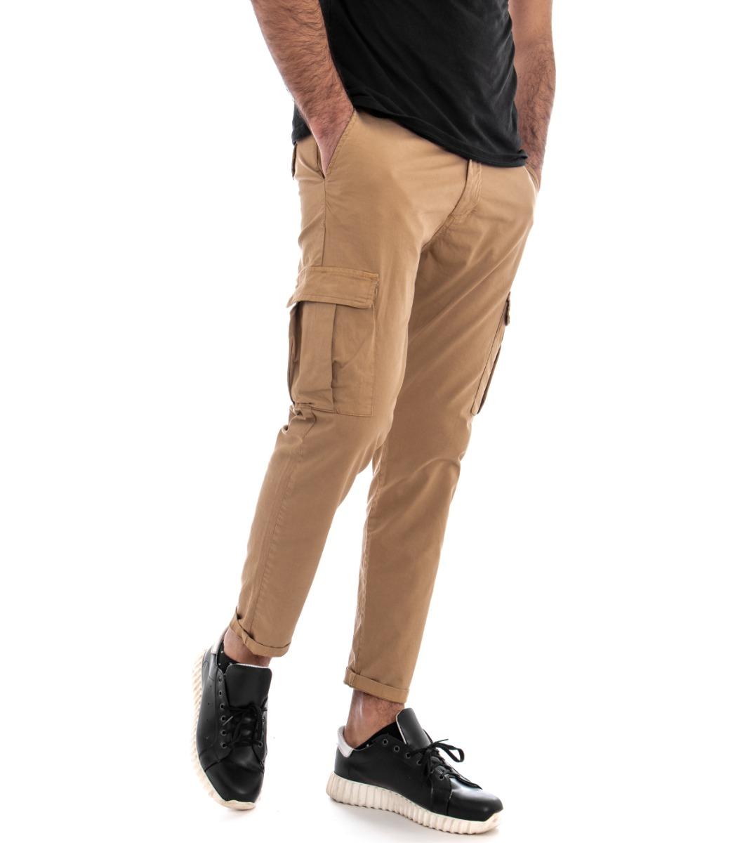 Pantalone-Uomo-Cargo-Tasca-America-Kaki-Tinta-Unita-Cotone-Casual-GIOSAL miniatura 2