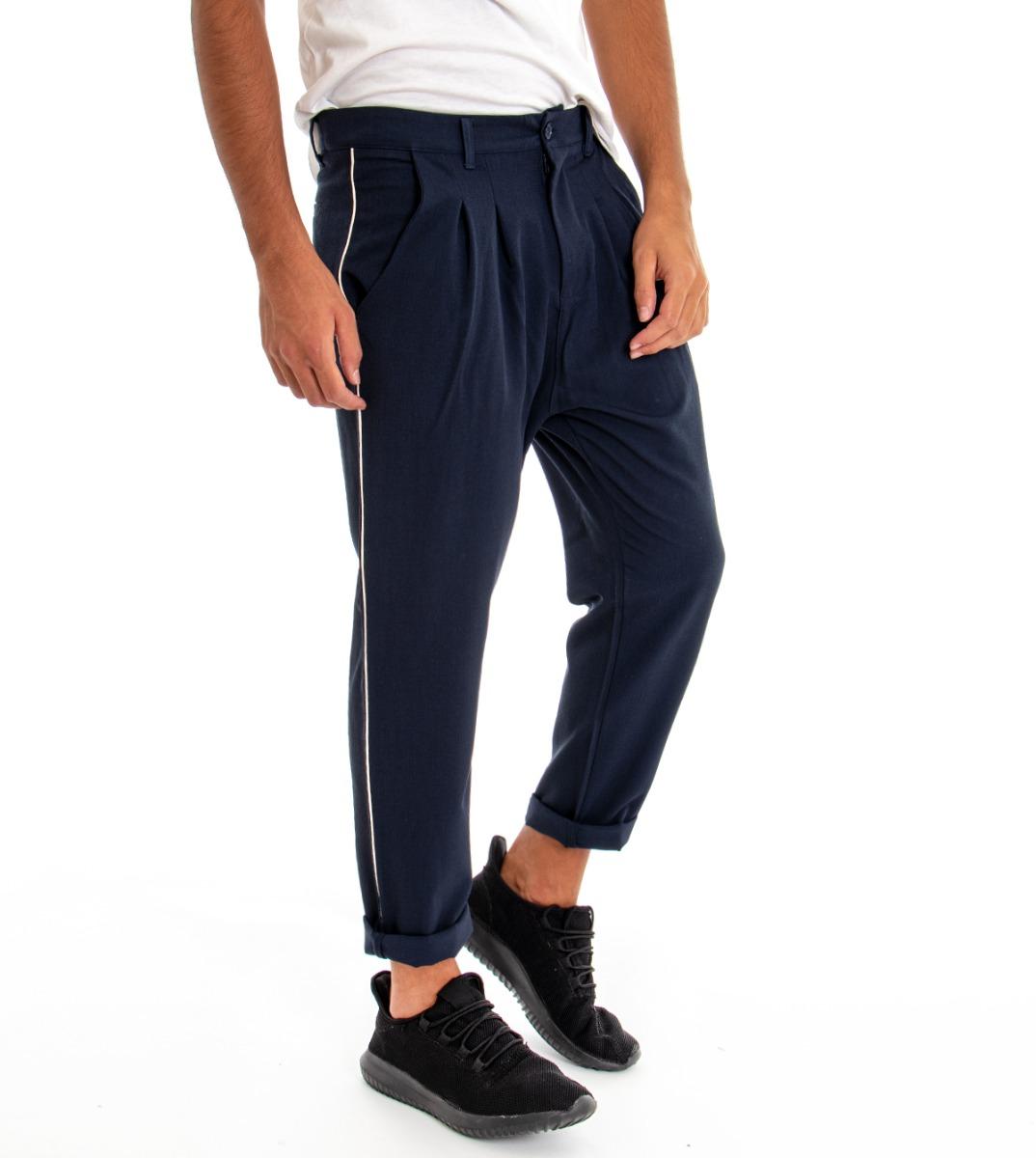Dettagli su Pantalone Cavallo Basso Blu Tasca America Uomo Pence Regular Fit Casual GIOSAL