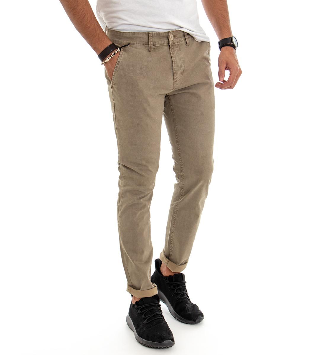 Pantalone Tasca America Micro-Fantasia Verde Slim Uomo Pantaloni in Cotone Ca...