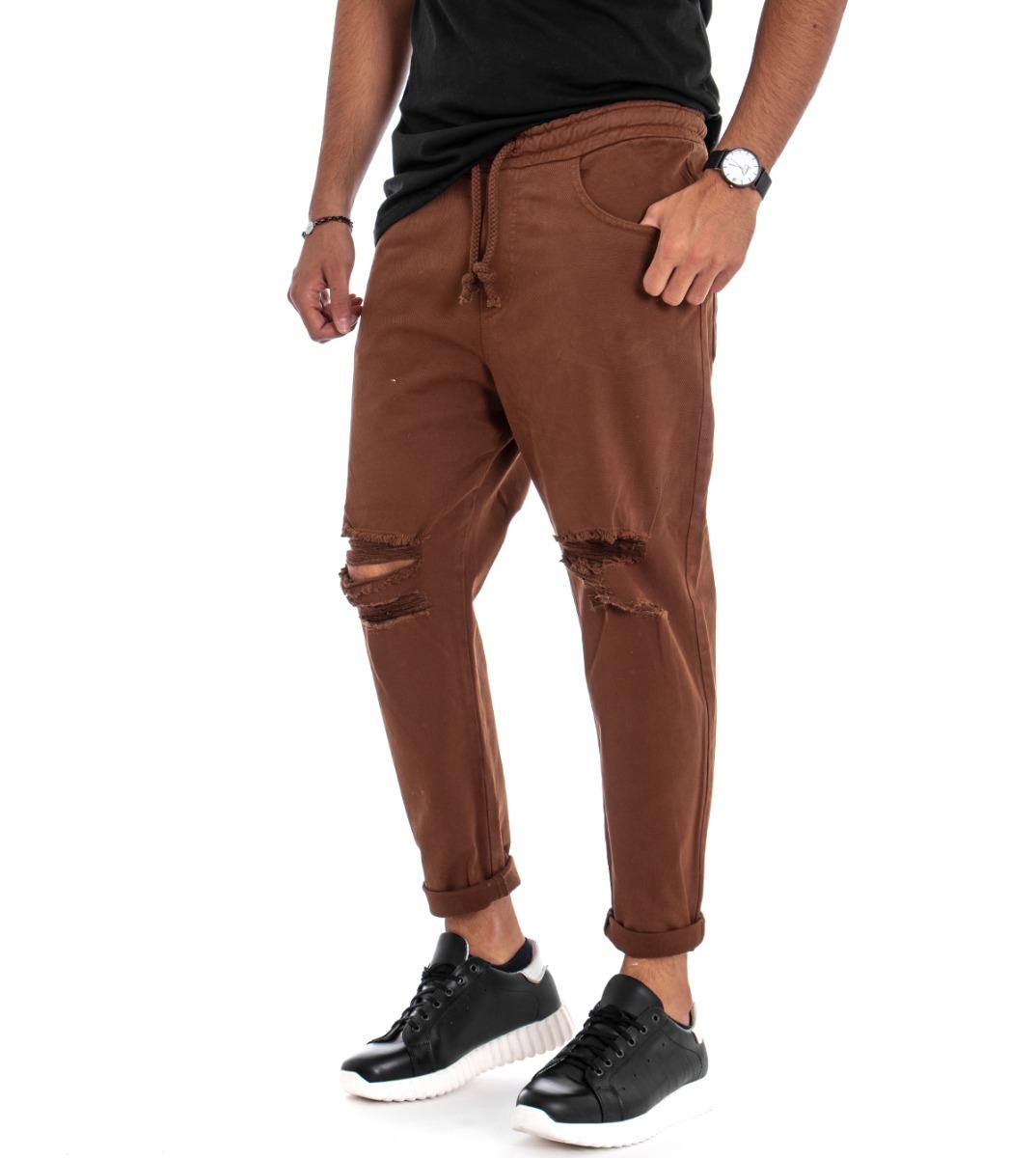 Attento Pantalone Uomo Elastico Rotture Strappato Cotone Tinta Unita Tabacco Giosal