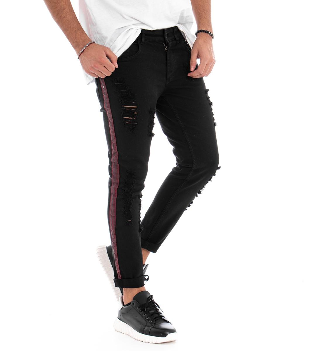 Di Larghe Vedute Pantalone Uomo Mod Rotture Riga Laterale Rossa Cinque Tasche Slim Fit Cotone ... Giada Bianca