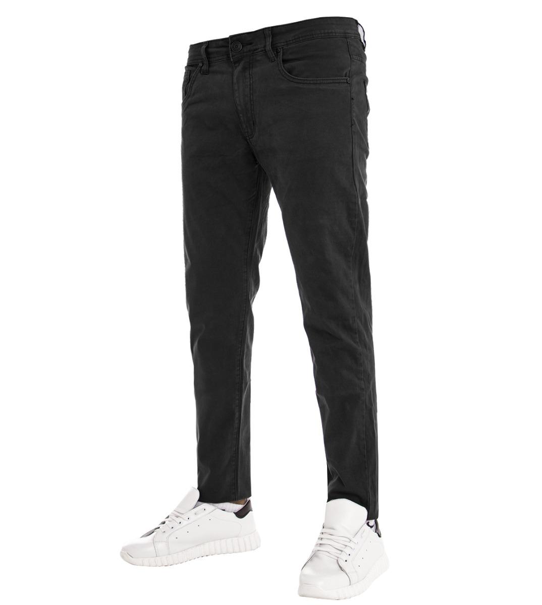 Glorioso Pantalone Uomo Slim Fit Cotone Elastico Cinque Tasche Casual Vari Colori Nero... Aiutare A Digerire Cibi Grassi