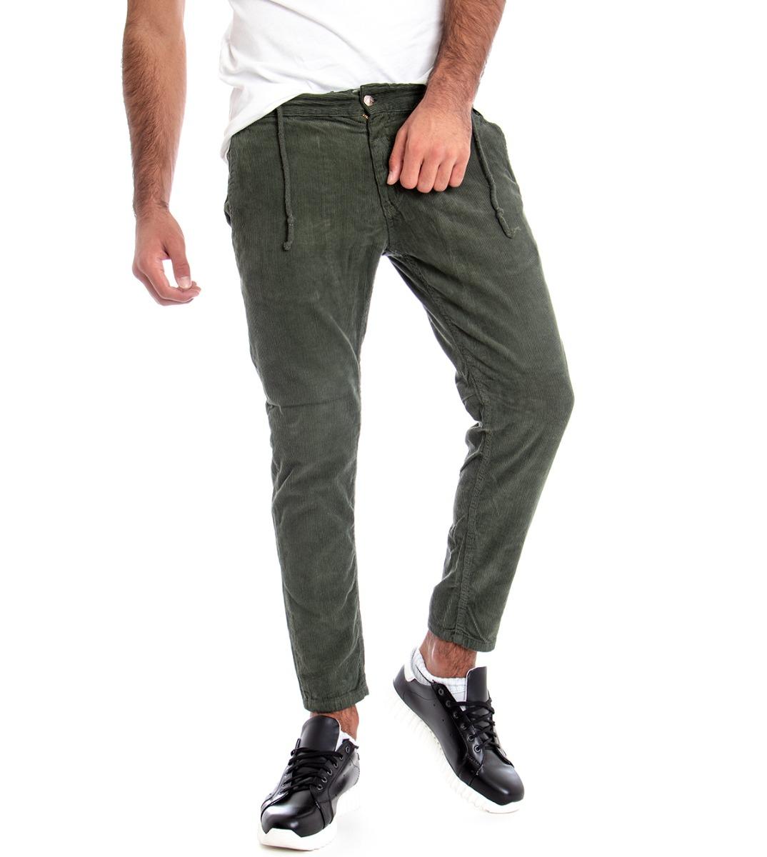 Pantalone-Uomo-Tasca-America-Velluto-Rigato-Velvet-Tinta-Unita-Verde-GIOSAL miniatura 7
