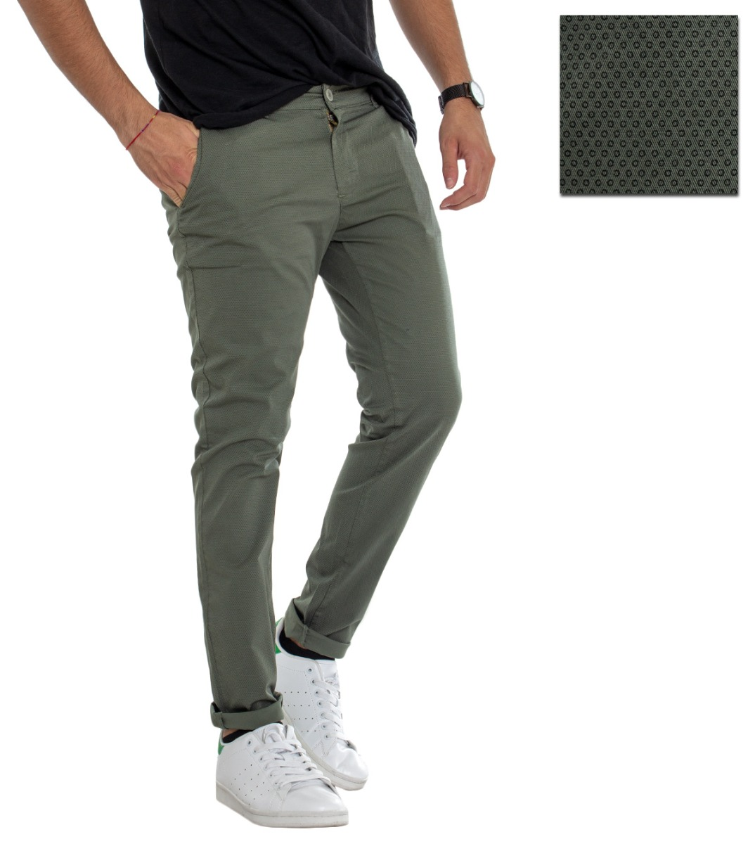 Pantalone Uomo Classico Cotone Pois Micro Fantasia Tasca America Tinta Unita ...