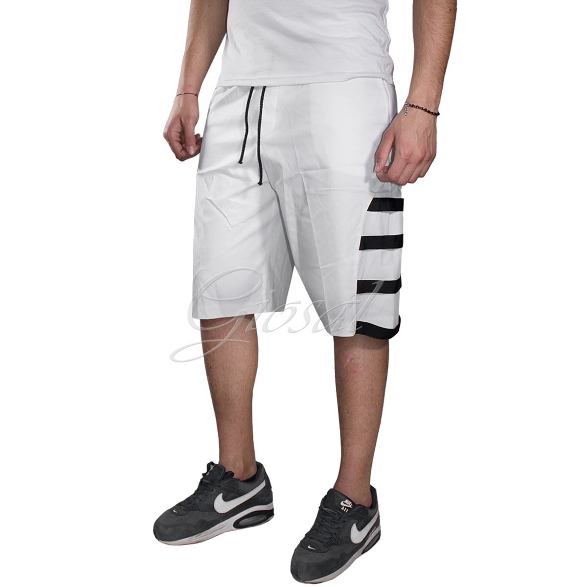 Cortos Detalles Rayas Pantalones Bermudas Vario Chándal Hombre Algodón Liso Color De Lateral K5uTF1cJl3