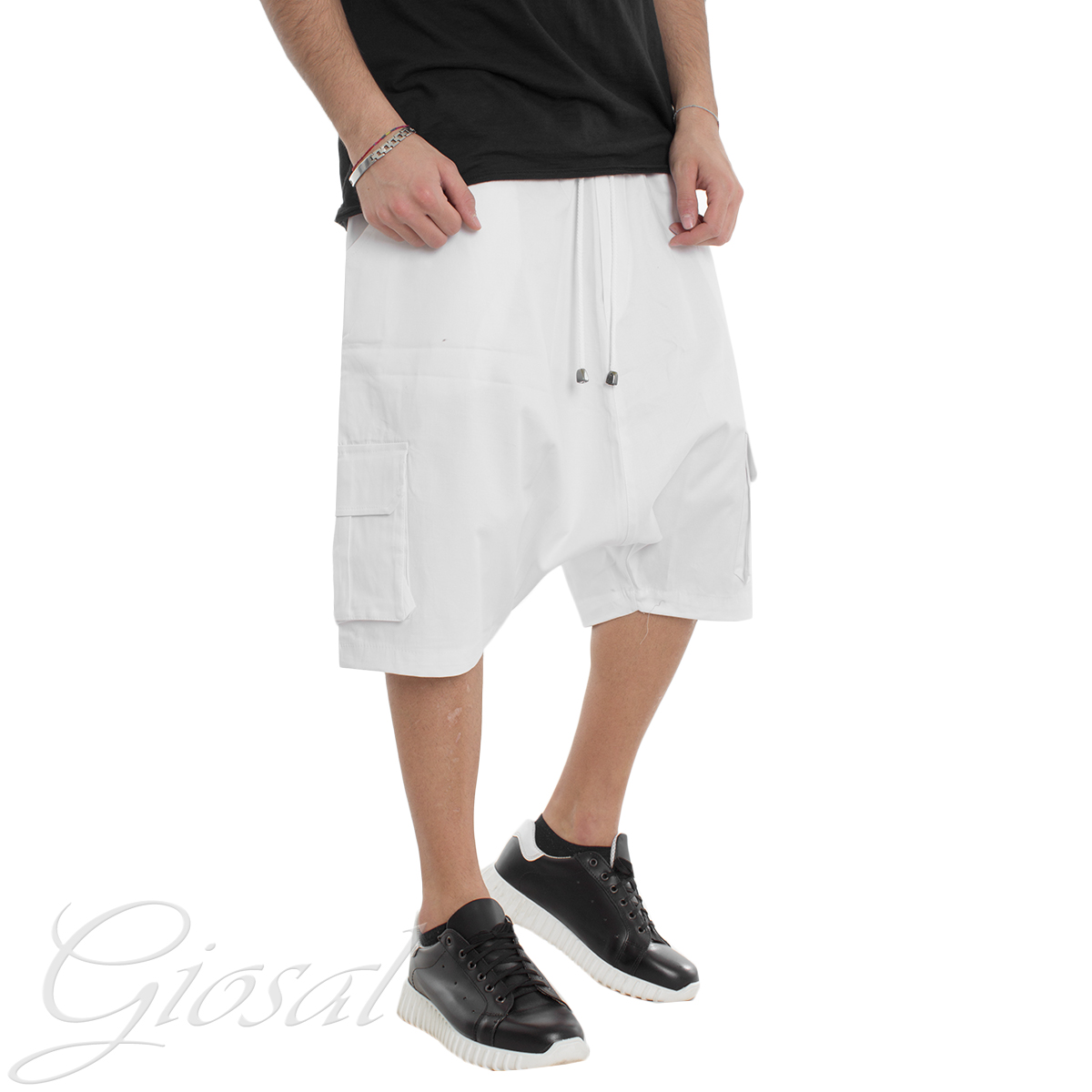 Pantalone-Uomo-Corto-Bermuda-Cavallo-Basso-Tinta-Unita-Vari-Colori-Casual-GIOSAL miniatura 13