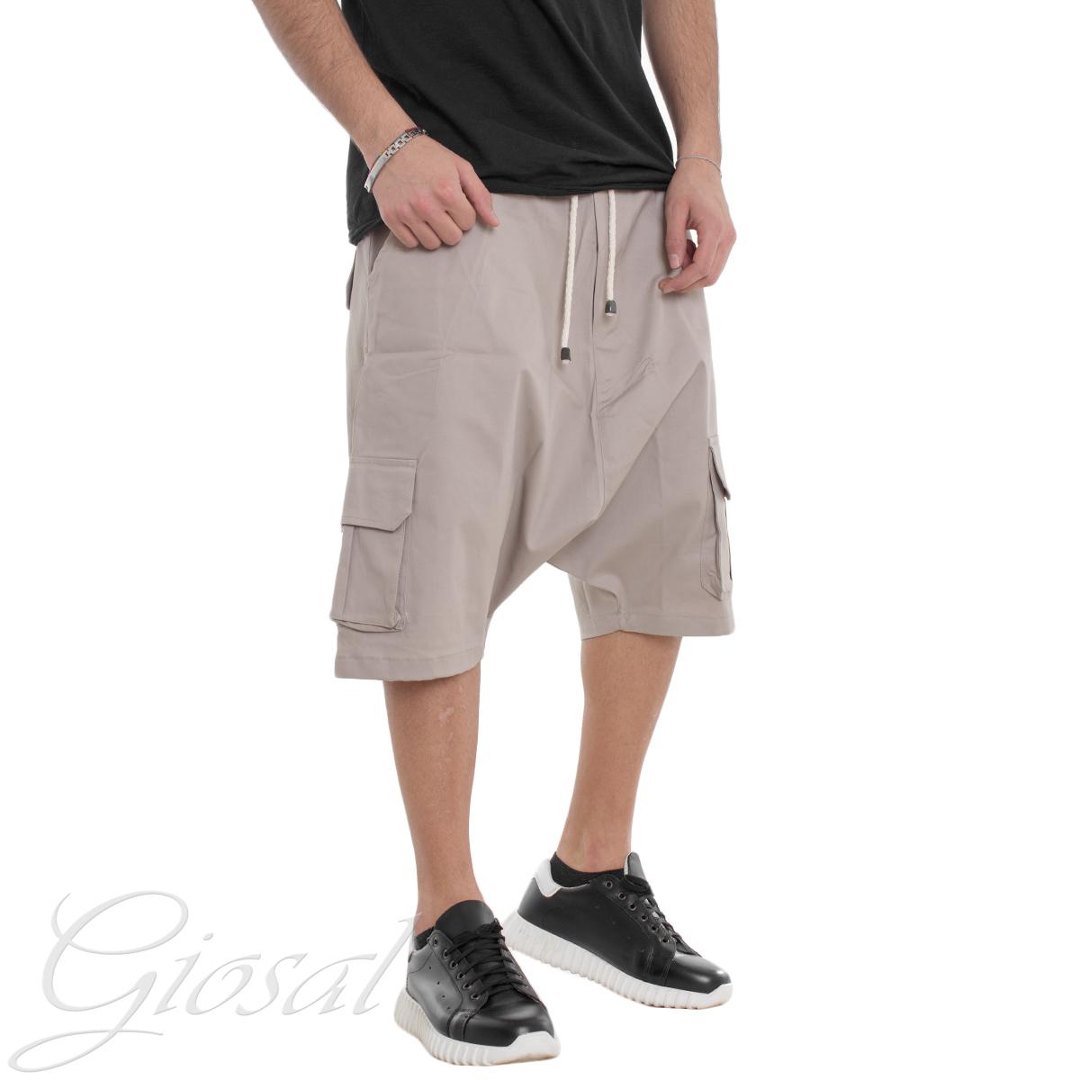 Pantalone-Uomo-Corto-Bermuda-Cavallo-Basso-Tinta-Unita-Vari-Colori-Casual-GIOSAL miniatura 14