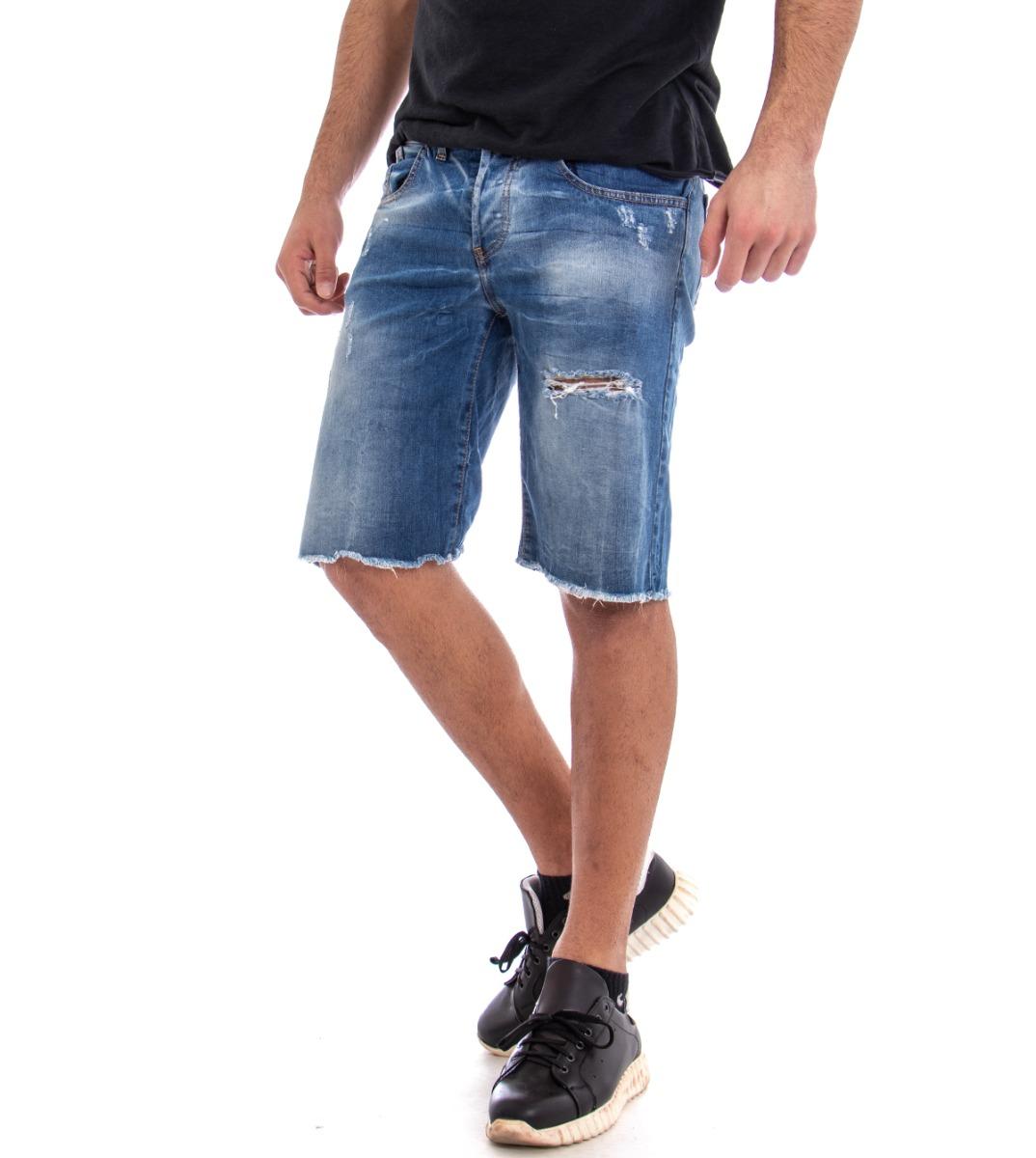 Pantaloncini Uomo Pantalone Corto Bermuda Jeans Denim Rotture Cinque Tasche G...