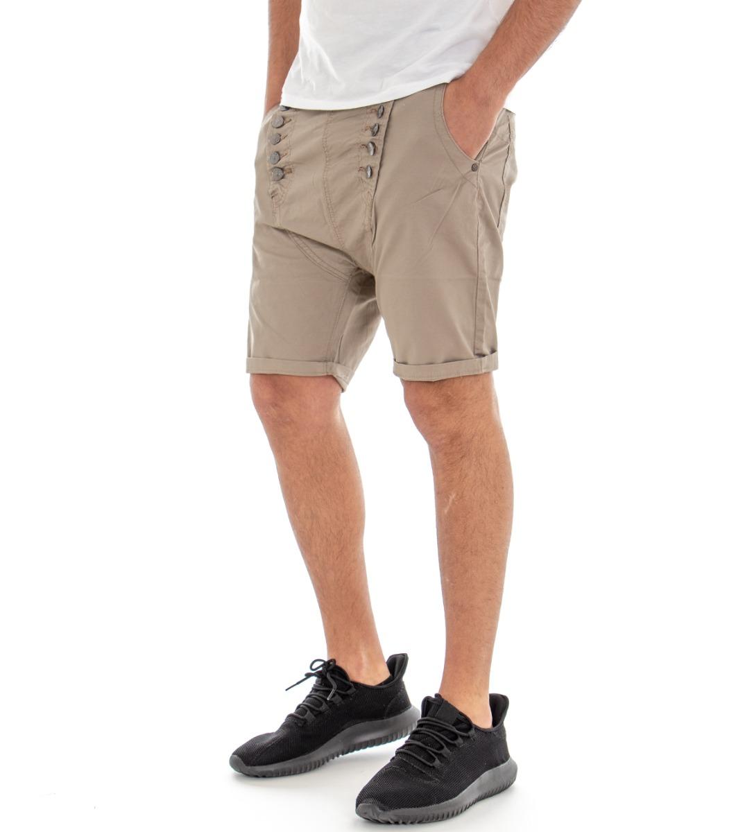 Dettagli su Pantalone Corto Uomo Pantaloncini Bermuda Beige Tasca America Cavallo Basso G