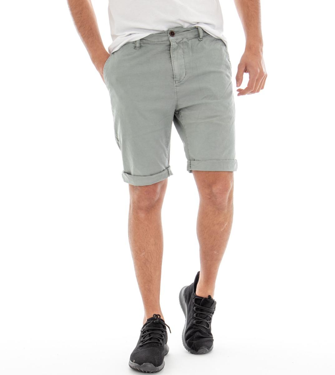 Intelligente Pantalone Uomo Corto Bermuda Pantaloncini Tasca America Tinta Unita Grigio Sl... Conveniente Da Cucinare