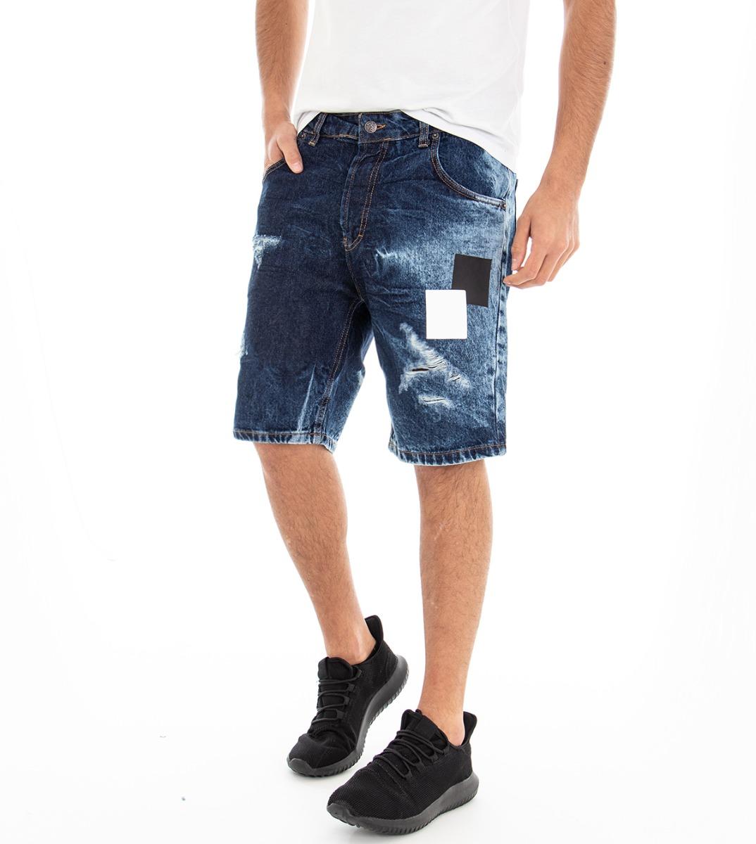 Bermuda Jeans Cinque Tasche Uomo Denim Pantaloncini Pantalone Corto Stone Was... Bianchezza Pura