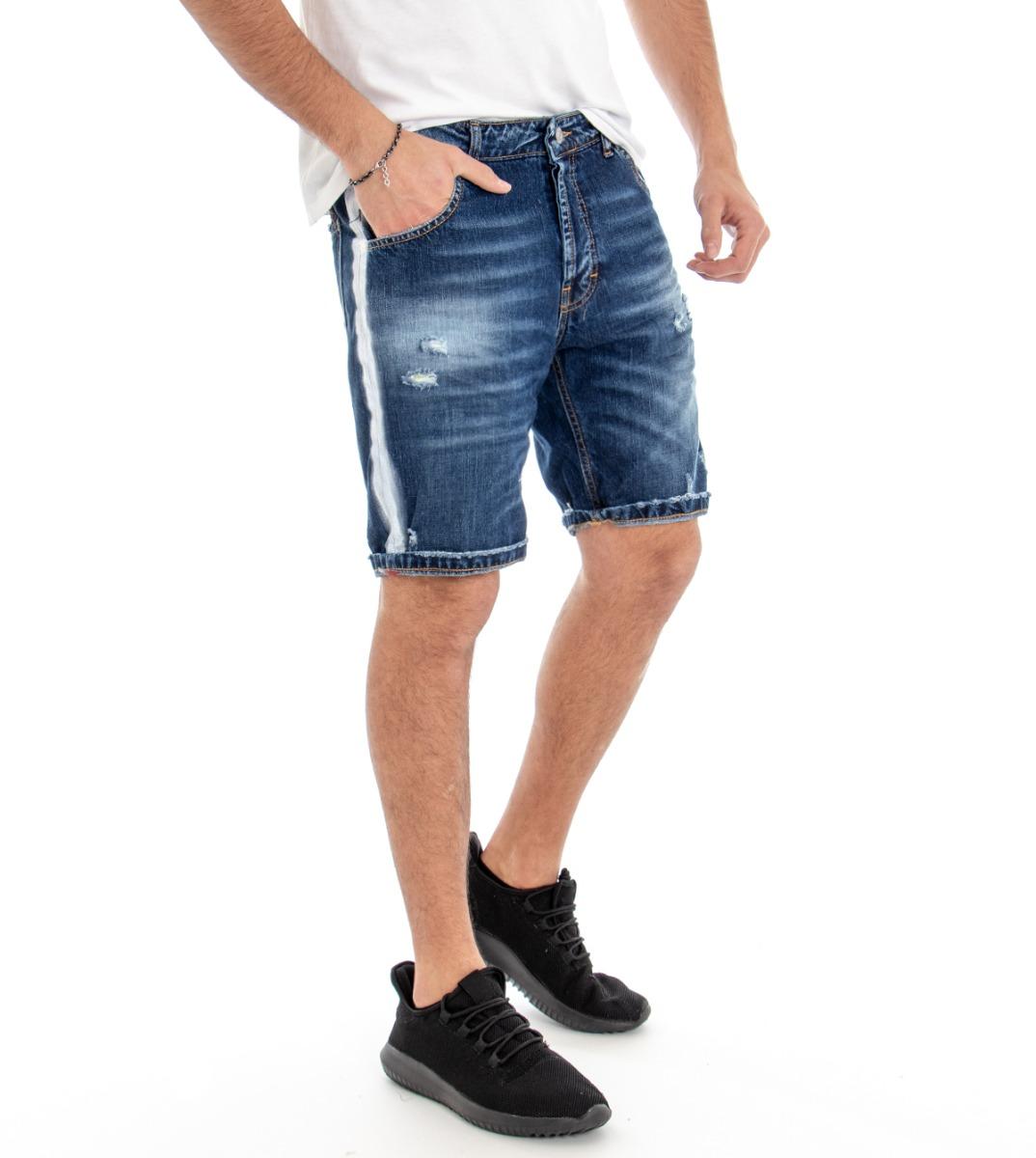 Generoso Bermuda Jeans Uomo Pantaloncini Denim Riga Laterale Slim Cinque Tasche Giosal