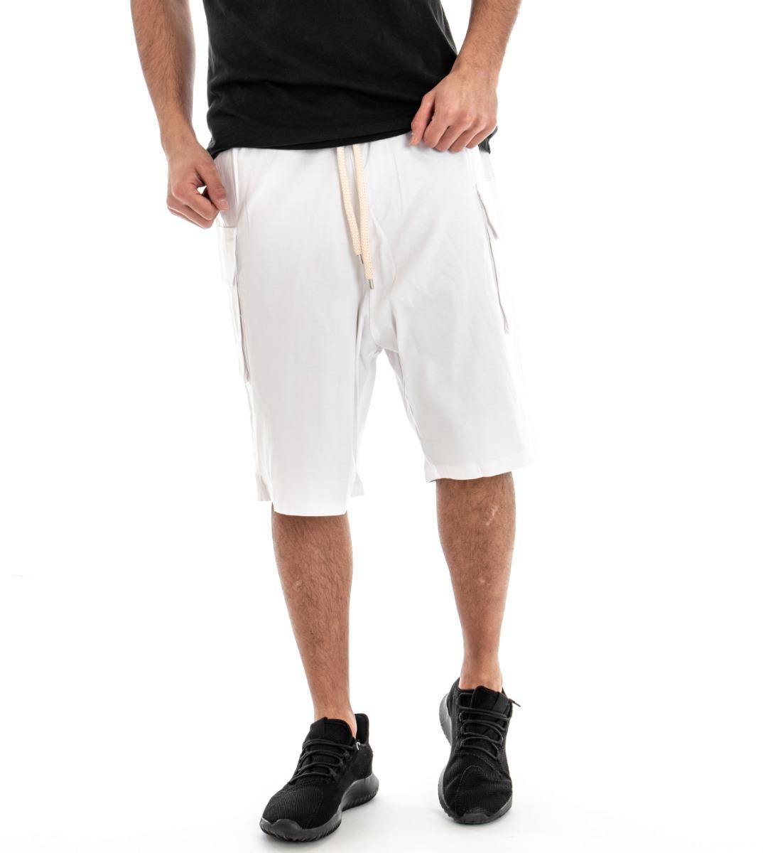 Dettagli su Bermuda Bianco Uomo Pantalone Corto Cavallo Basso Pantaloncini Elastico GIOSAL