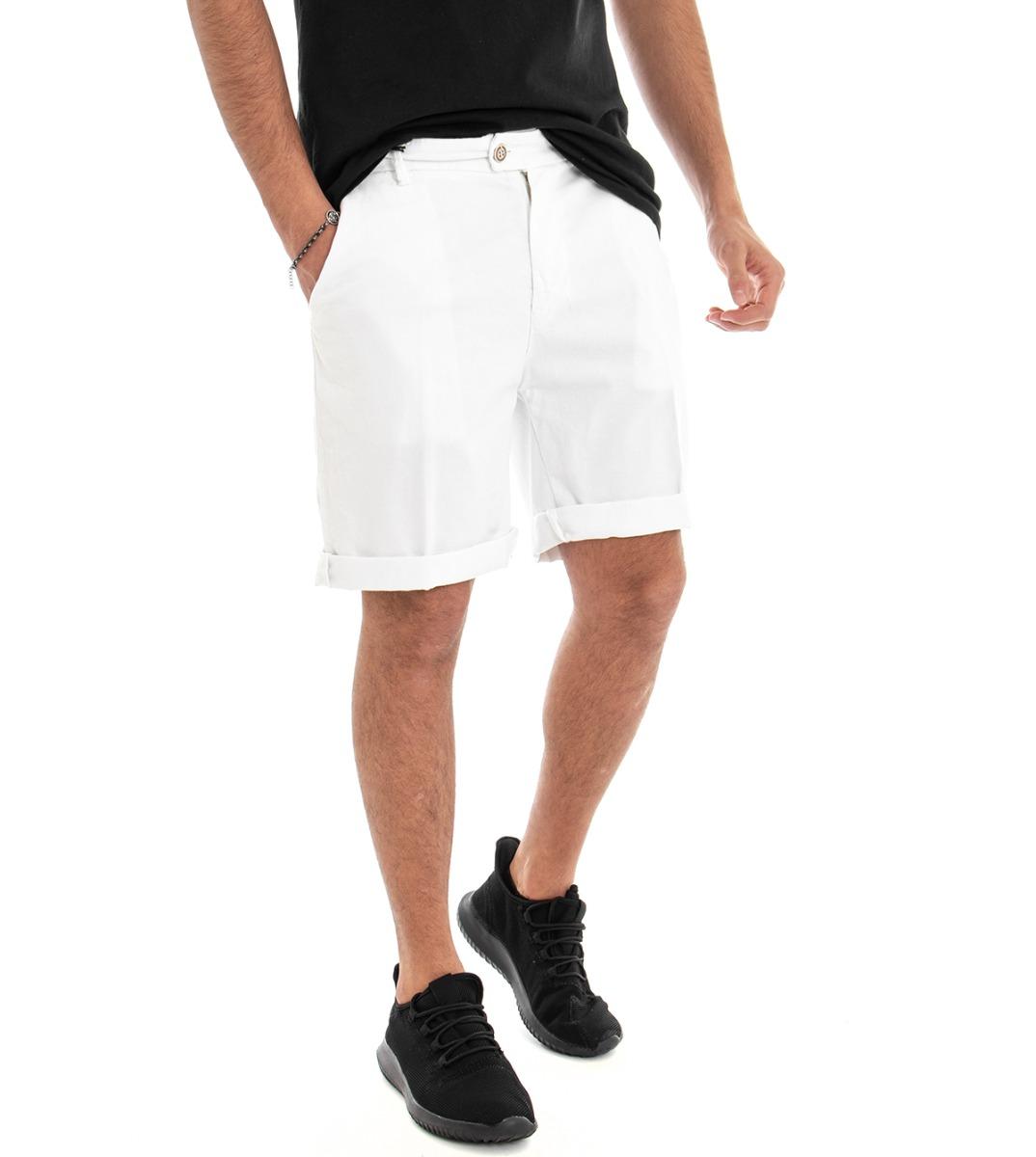 Dettagli su Pantaloncini Uomo Pantalone Corto Cotone Bianco Bermuda Tasca America GIOSAL