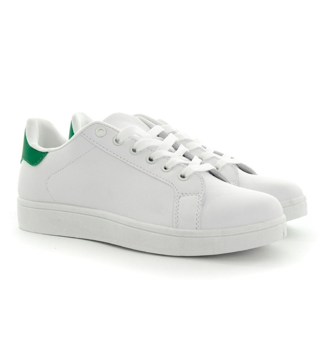 Details about Scarpe Uomo Sneakers Sportive Basse Tinta Unita Bianche Verde Shoes Calzature