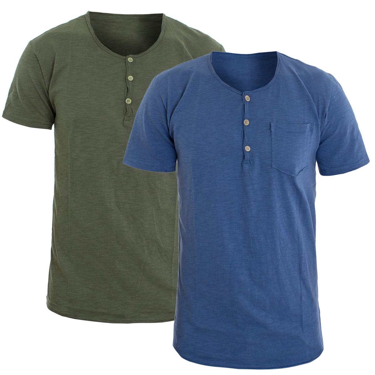 Aggressivo T-shirt Uomo Mezza Manica Vari Colori Taschino Serafino Cotone Girocollo Tint... Ultima Tecnologia