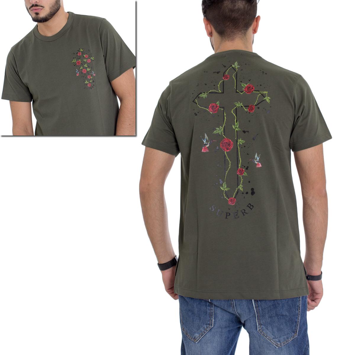 T-Shirt-Uomo-MOD-Cotone-Stampa-Rosa-Scritte-Verde-Militare-GIOSAL miniatura 5